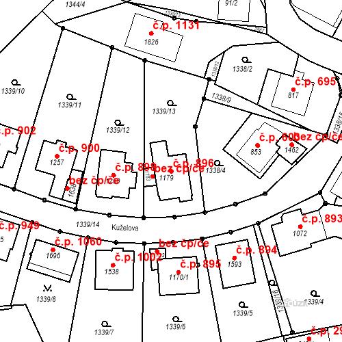 Katastrální mapa Stavební objekt Luhačovice 896, Luhačovice