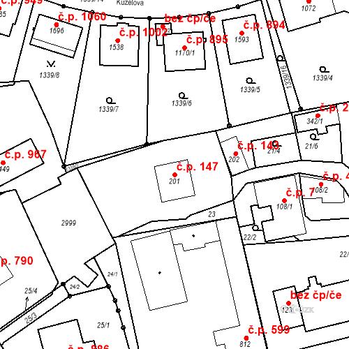 Katastrální mapa Stavební objekt Luhačovice 147, Luhačovice