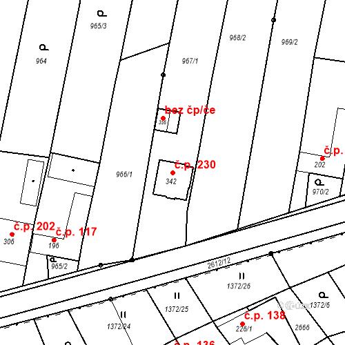 Katastrální mapa Stavební objekt Rudice 230, Rudice