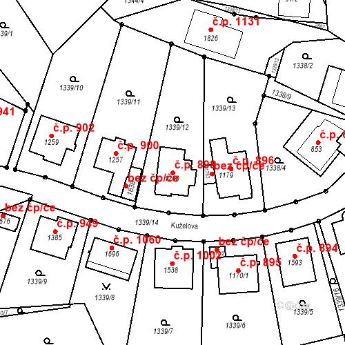 Katastrální mapa Stavební objekt Luhačovice 898, Luhačovice