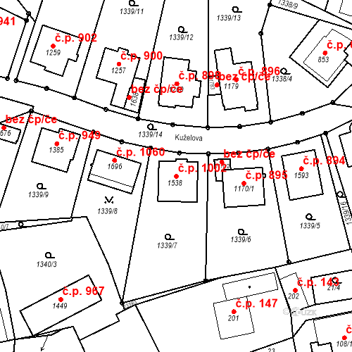 Katastrální mapa Stavební objekt Luhačovice 1002, Luhačovice