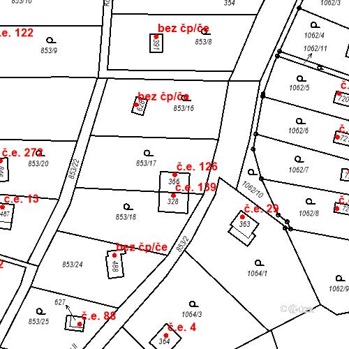 Katastrální mapa Stavební objekt Příluky 126, Zlín