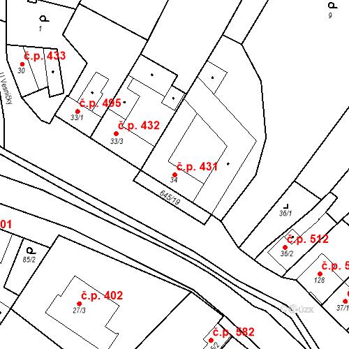 Katastrální mapa Stavební objekt Chvalčov 431, Chvalčov
