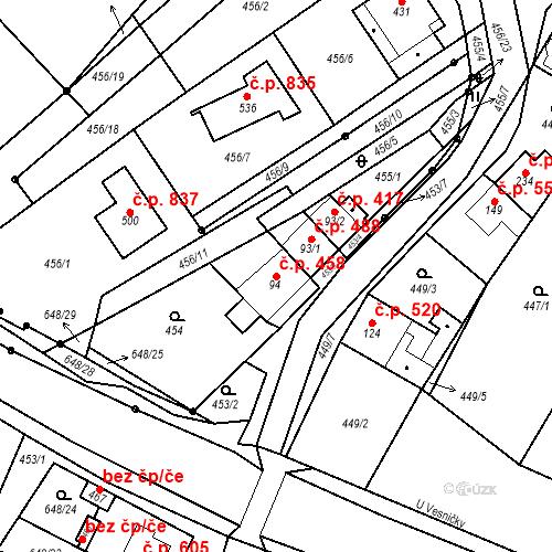 Katastrální mapa Stavební objekt Chvalčov 458, Chvalčov
