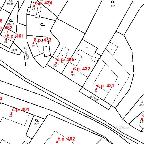 Katastrální mapa Stavební objekt Chvalčov 432, Chvalčov