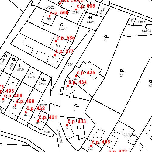 Katastrální mapa Stavební objekt Chvalčov 435, Chvalčov