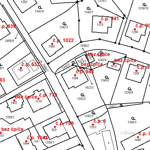 Katastrální mapa Stavební objekt Luhačovice 948, Luhačovice