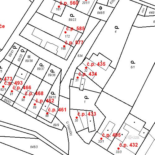 Katastrální mapa Stavební objekt Chvalčov 434, Chvalčov