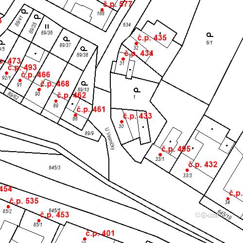 Katastrální mapa Stavební objekt Chvalčov 433, Chvalčov