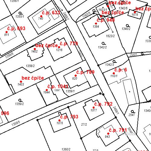 Katastrální mapa Stavební objekt Luhačovice 789, Luhačovice