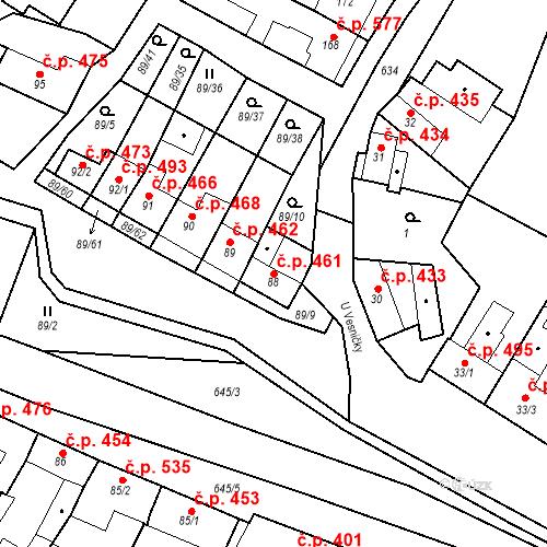 Katastrální mapa Stavební objekt Chvalčov 461, Chvalčov