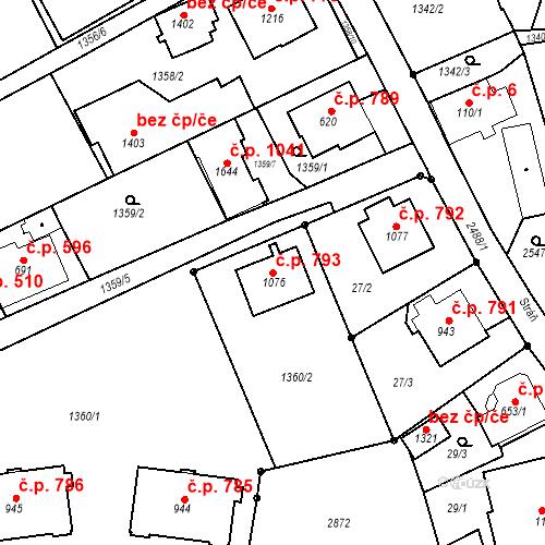 Katastrální mapa Stavební objekt Luhačovice 793, Luhačovice