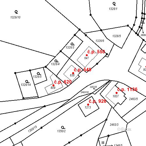 Katastrální mapa Stavební objekt Luhačovice 549, Luhačovice