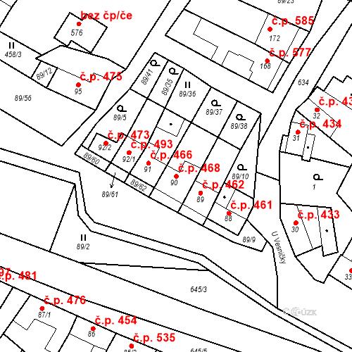 Katastrální mapa Stavební objekt Chvalčov 468, Chvalčov