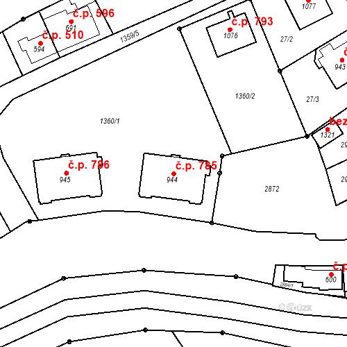 Katastrální mapa Stavební objekt Luhačovice 785, Luhačovice