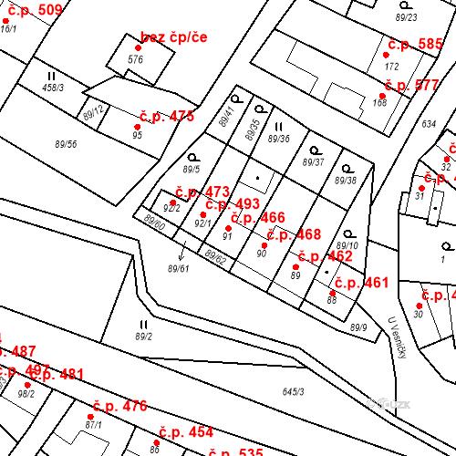 Katastrální mapa Stavební objekt Chvalčov 466, Chvalčov