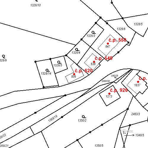 Katastrální mapa Stavební objekt Luhačovice 620, Luhačovice