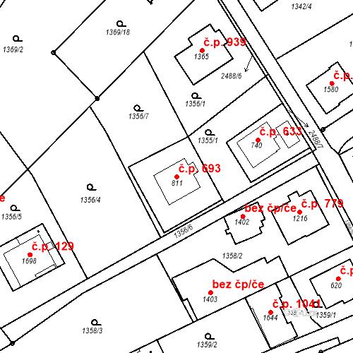 Katastrální mapa Stavební objekt Luhačovice 693, Luhačovice