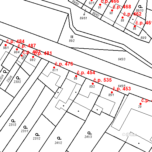 Katastrální mapa Stavební objekt Chvalčov 454, Chvalčov