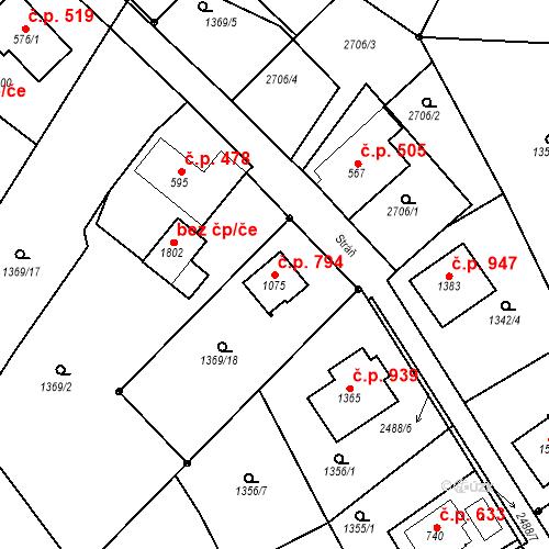 Katastrální mapa Stavební objekt Luhačovice 794, Luhačovice