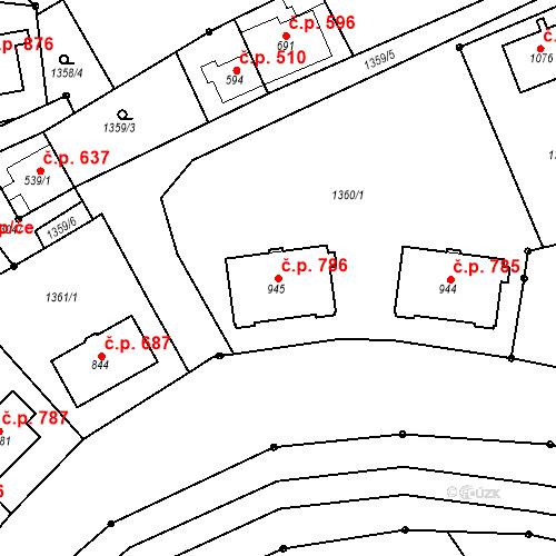 Katastrální mapa Stavební objekt Luhačovice 786, Luhačovice