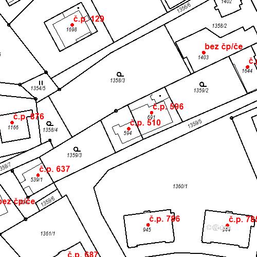 Katastrální mapa Stavební objekt Luhačovice 510, Luhačovice