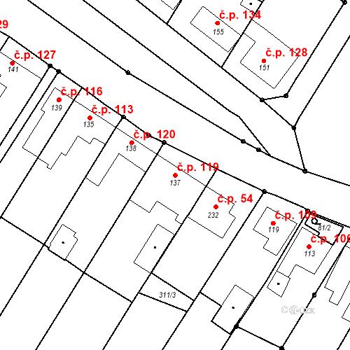 Katastrální mapa Stavební objekt Nezdenice 119, Nezdenice