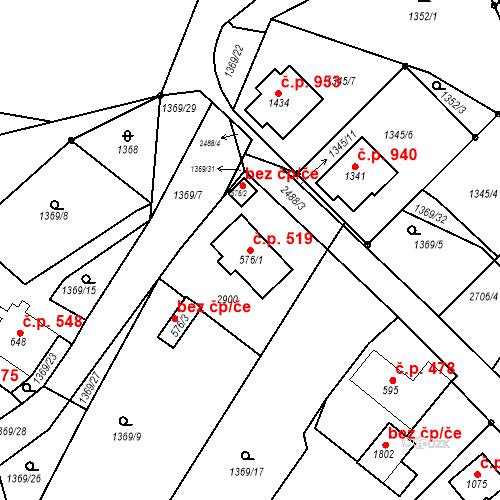 Katastrální mapa Stavební objekt Luhačovice 519, Luhačovice