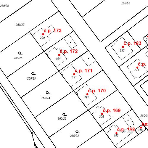 Katastrální mapa Stavební objekt Nezdenice 171, Nezdenice