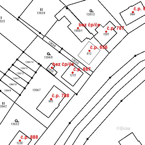 Katastrální mapa Stavební objekt Luhačovice 887, Luhačovice