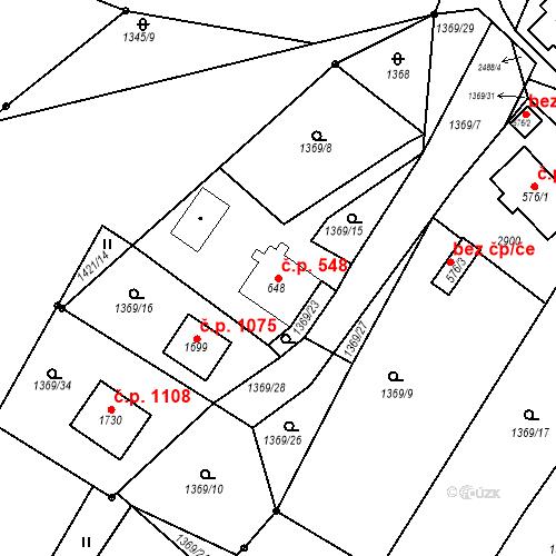 Katastrální mapa Stavební objekt Luhačovice 548, Luhačovice