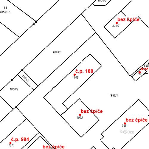 Katastrální mapa Stavební objekt Luhačovice 188, Luhačovice