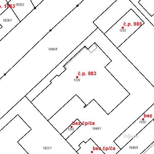 Katastrální mapa Stavební objekt Luhačovice 983, Luhačovice