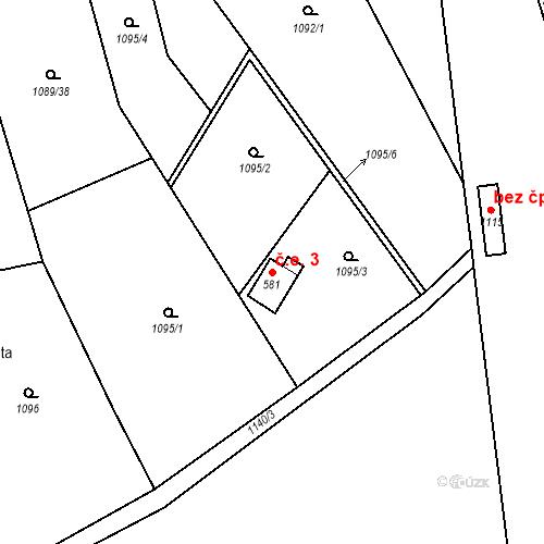 Katastrální mapa Stavební objekt Příluky 3, Zlín