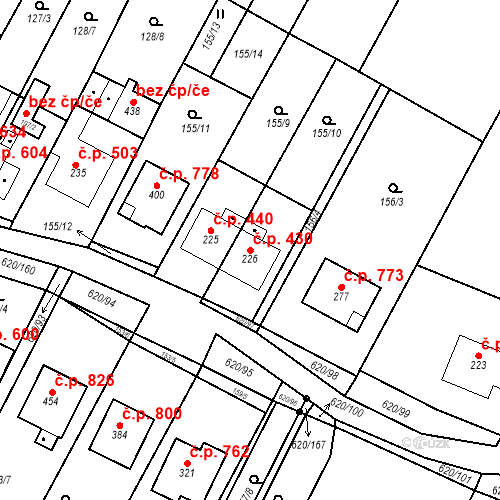 Katastrální mapa Stavební objekt Chvalčov 430, Chvalčov