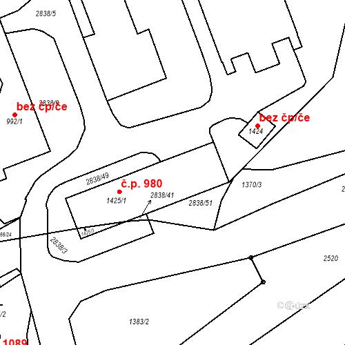 Katastrální mapa Stavební objekt Luhačovice 980, Luhačovice