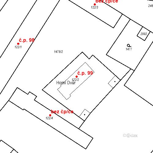 Katastrální mapa Stavební objekt Luhačovice 99, Luhačovice