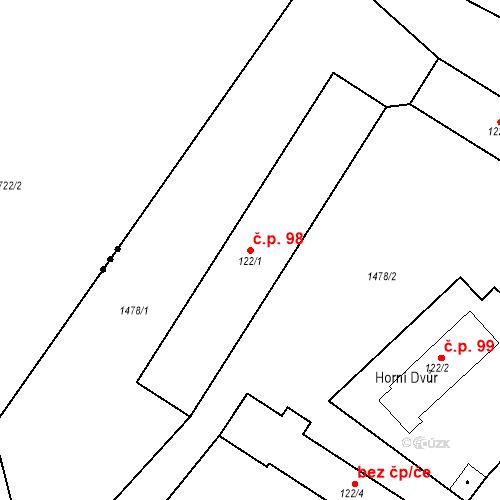 Katastrální mapa Stavební objekt Luhačovice 98, Luhačovice