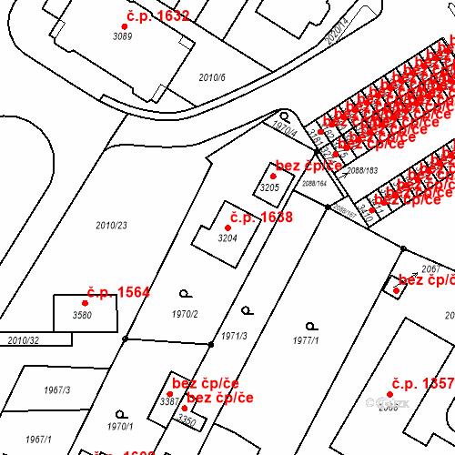 Katastrální mapa Stavební objekt Bystřice pod Hostýnem 1638, Bystřice pod Hostýnem