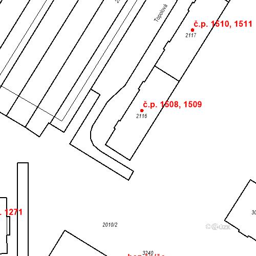 Katastrální mapa Stavební objekt Bystřice pod Hostýnem 1508, 1509, Bystřice pod Hostýnem