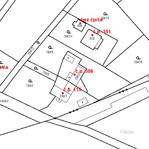 Katastrální mapa Stavební objekt Kudlov 306, Zlín
