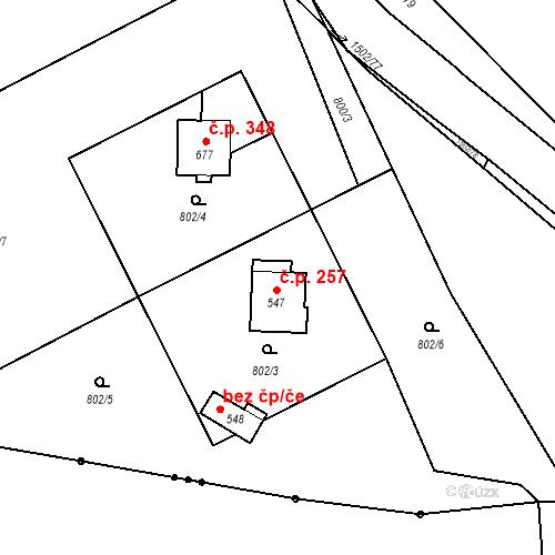 Katastrální mapa Stavební objekt Kudlov 257, Zlín