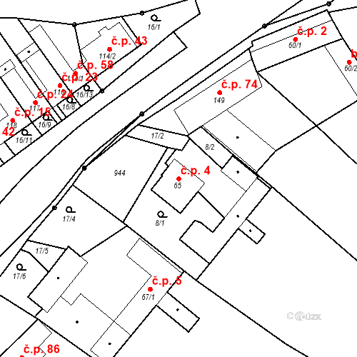 Katastrální mapa Stavební objekt Polichno 4, Luhačovice