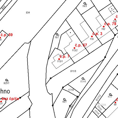 Katastrální mapa Stavební objekt Polichno 7, Luhačovice