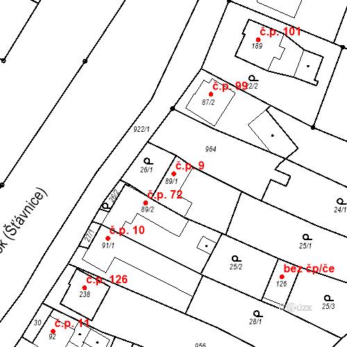 Katastrální mapa Stavební objekt Polichno 9, Luhačovice