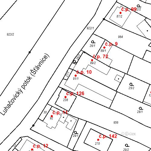 Katastrální mapa Stavební objekt Polichno 10, Luhačovice