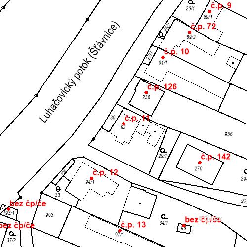 Katastrální mapa Stavební objekt Polichno 11, Luhačovice