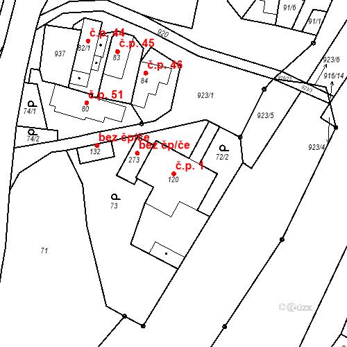 Katastrální mapa Stavební objekt Polichno 1, Luhačovice