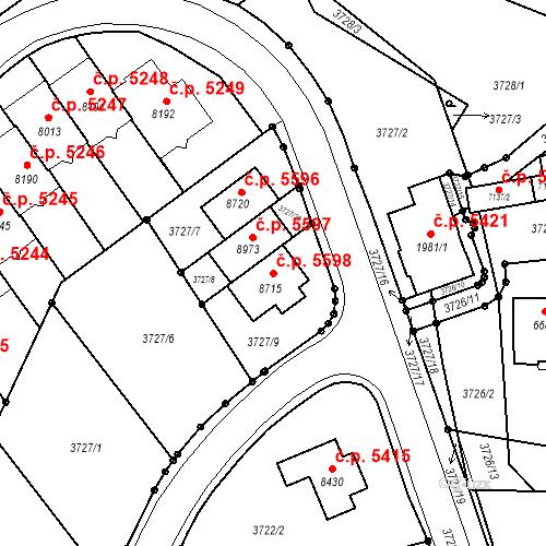 Katastrální mapa Stavební objekt Zlín 5598, Zlín