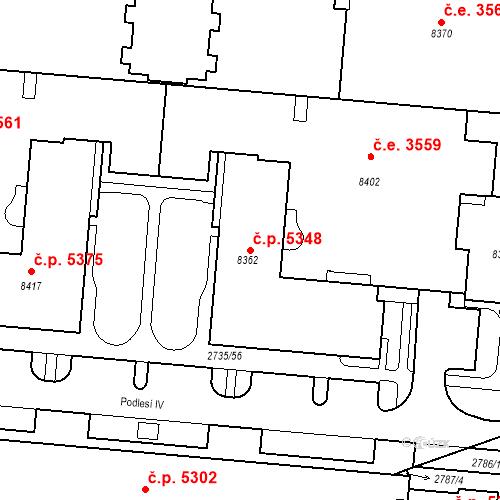 Katastrální mapa Stavební objekt Zlín 5348, Zlín
